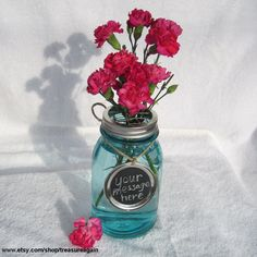 Mason jar with chalkboard label for flowers