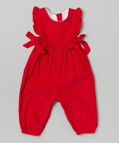 Another great find on #zulily! Red Ruffle Berkley Overalls - Infant & Toddler by bella bliss #zulilyfinds