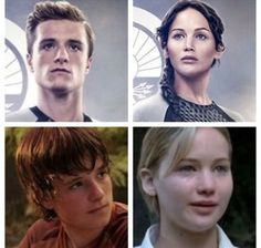 """On top you can see Josh (21 years old) and Jennifer (23 years old) {Catching Fire}.    But on the bottom Josh is 15 years old and Jennifer 16 years old. The bottom shows the age of the """"real"""" Katniss and Peeta in the 74th Hunger Games.  It would be way more creepier to see the them kill each other, isn't it?"""