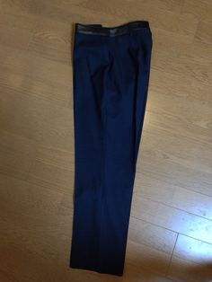 BURBERRY skinny fit leather trim wool trousers