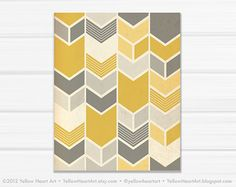 love the mix of chevrons with pieced chevrons - Graphic Fine Art Chevron Geometric Print in Mustard and Gray / 8x10 / by Yellow Heart Art