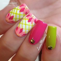 I know I know, it's #Autumn, but these #floral #neon #nails by @lauramerino12 were too... | Use Instagram online! Websta is the Best Instagram Web Viewer!