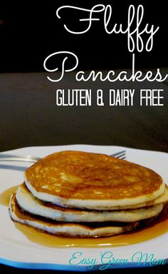 Everyone loves Fluffy Pancakes! These pancakes from Easy Green Mom are Gluten Free and Dairy Free. #recipe #glutenfree #dairyfree