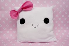 Unique Handmade Kawaii Girl Tofu Pillow made from Fleece Fabric