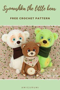 Syomushka the little bear Crochet Hooks, Free Crochet, Copper Electrical Wire, Crochet Panda, Thick Yarn, Brown Bear, Crochet Patterns, Teddy Bear, Sewing