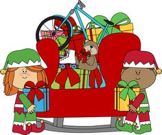Christmas elves and santas sleigh.