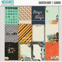 Sk8ter Boy Scrapbook kit by Meagan's Creations This kit was created for all those boys, and tomboys out there. This versatile kit is great for scrapping their everyday adventures, and even their rough and tumble days.