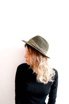 Vintage Ischler Hat Fedora Trilby Hat Khaki Green Fedora Hat Gentlemen Hat  Men Fedora Hat Green Hat 5ada1b604cf3