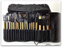 Make-up Pinsel Kunsthaar Naturholzgriff mit schwarzer Ledertasche von LightintheBox im Test