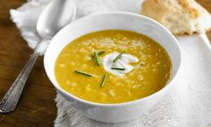 This creamy and flavorful soup is perfect for a cold fall day. Pure maple syrup adds a touch of sweetness to the corn and butternut squash for a meal that is sure to warm you from the inside out! Maple Syrup Recipes, Pure Maple Syrup, Butternut Squash Soup, Weeknight Meals, Curry, Clean Eating, Food And Drink, Healthy
