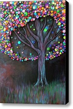 This is just too cute not to share. Button tree on painted canvas… great DIY home decor gift idea!