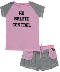 "Katnap Kids Big Girls' ""No Selfie Control"" 2-Piece Pajamas (Sizes 7 – 16) - CookiesKids.com"