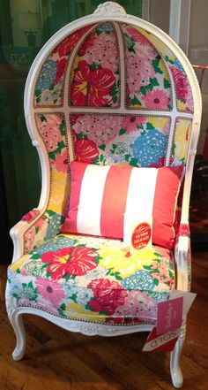 Lilian Dome Chair in Lilly Pulitzer Upholstery Canopy Over Bed, Baby Canopy, Canopy Bedroom, Canopy Tent, Girls Canopy, Canopy Curtains, Door Canopy, Tree Canopy, Backyard Canopy