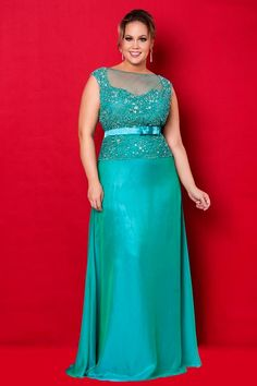 Turquoise Beaded Bodice Chiffon Floor Length Plus Size Evening Dress / Prom Dresses/ Mother of The Bride Dresses Vestidos Plus Size, Plus Size Gowns, Evening Dresses Plus Size, Mom Dress, Dress Up, Curvy Fashion, Plus Size Fashion, Bridesmaid Dresses, Prom Dresses