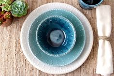 MATT & JEN's Wedding Registry  Ocean Blue Ombré di BackBayPottery, $105.00