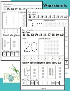 Number Worksheets   Kindergarten   Grade One  Learn Numbers to 20