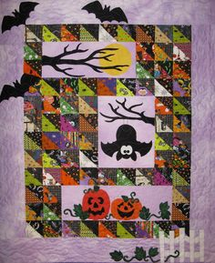 Scaredy Bat quilt by Moose Stash Quilting. The pattern is from the Ribbon Candy Quilt Company.