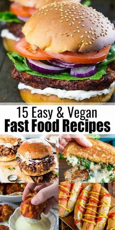 15 Drool-Worthy Vegan Fast Food Recipes You like burgers, sandwiches, tacos, and burritos and you're looking for vegan versions? Then you will love this roundup of 15 drool-worthy vegan fast food recipes! These recipes make such a great vegan dinner! Vegan Fast Food Options, Vegetarian Fast Food, Vegan Comfort Food, Vegan Food, Food Food, Vegan Dinner Recipes, Vegan Dinners, Cooking Recipes, Healthy Recipes