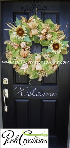 Summer Wreath Fall Wreath Fall  Mesh Wreath by poshcreationsKY, $99.00