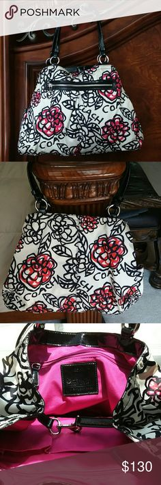 ️Large Poppy Coach Tote This bag is amazingly gorgeous. Has so much room for just about anything. The colors are vibrant and it's a one of a kind bag. Depth is 13 x Length 17. No low-balls -! I only do business thru the #offer button. Ask questions before you purchase. Coach Bags Totes