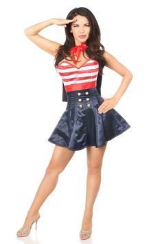 097aafc7c5 Daisy Top Drawer 2 PC Pin-Up Sailor Corset Dress Costume