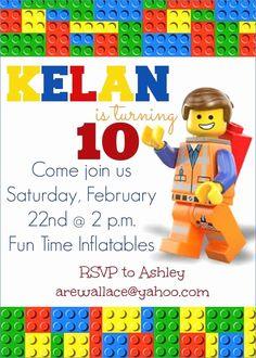 Lego Movie Party Invitations Lego movie party invitation by Lego Birthday Cards, Lego Birthday Invitations, Movie Party Invitations, Lego Movie Birthday, Lego Friends Birthday, Birthday Ideas, Happy Birthday, 40th Birthday, Birthday Parties