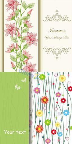 Floral design invitation card vector template