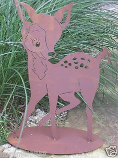 Edelrost Reh klein Bambi Rost Eisen Metall Garten Dekoration Tiere Kitz Wald