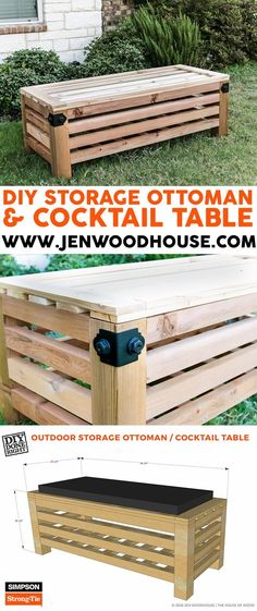 How to build a DIY outdoor storage ottoman and cocktail table - free building plans by Jen Woodhouse!