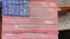 3rd grade art masterpiece lesson inspired by Jasper Johns. I printed patriotic verses on cardstock and the students painted warm colors for the body of flag, blue in upper left corner and then white stripes and stars to complete.