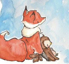 fox & owl - cute illustration for baby room?
