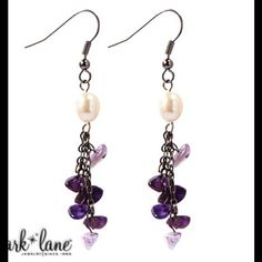 Mother of pearl & amethyst earrings Petite nuggets of real amethyst alternate with genuine freshwater pearls to fashion earrings. Simple yet chic, Le Petite works with casual, corporate or dress-up. Park Lane Jewelry Earrings