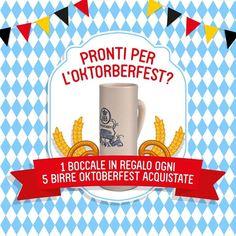 Pronti per brindare all'Oktoberfest?  1 boccale in regalo ogni 5 birre acquistate  Scoprite l'offerta sul nostro sito ---> goo.gl/Fd3HYG
