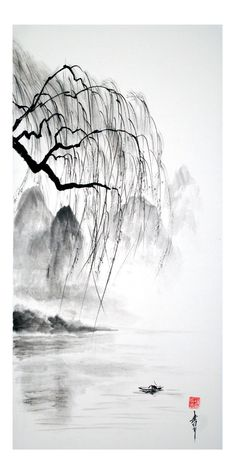 peinture zen ou sumi-e Jean-Marc Moschetti art zen Japanese Ink Painting, Sumi E Painting, Chinese Landscape Painting, Japanese Drawings, Japanese Artwork, Chinese Painting, Landscape Art, Art Zen, Art Asiatique