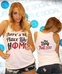 Phi Mu - There's no place like home #PhiMu #sorority #bidday #greek #shirts