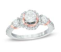 Pin for Later: Looking For a Unique Ring For Your Spring Engagement? Drop a Hint With These 58 Picks  Zales Vera Wang LOVE Collection engagement ring in two-tone gold ($3,300)