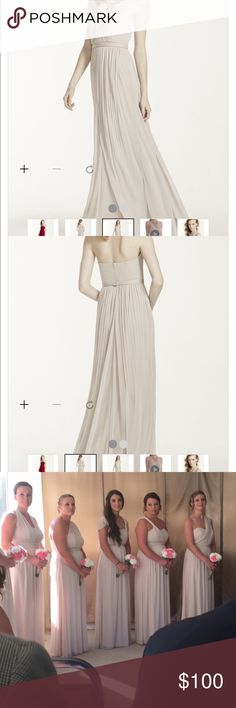 David's Bridal Versa Convertible Mesh Dress This dress is in Champagne.  I wore it once for my cousin's wedding.  It can be worn like 100 different ways! It's in great condition. David's Bridal Dresses Strapless