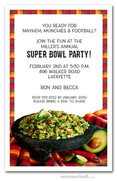 Fiesta Guacamole Invitations features a yummy bowl of guacamole, avocados, and limes on a striped Mexican place mat. Perfect for Cinco de Mayo party invitations, mexican fiesta invitations, dinner party invitations and more. Guacamole, Dinner Party Invitations, Invitation Ideas, Chips And Salsa, Mardi Gras Party, Dessert For Dinner, Perfect Party, Super Bowl, Stuffed Peppers