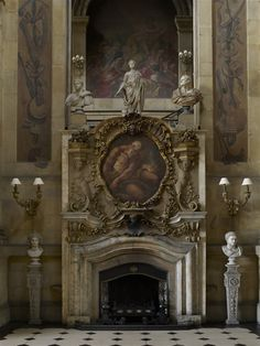 Great Hall fireplace, Castle Howard, North Yorkshire, England. Early 18th century.