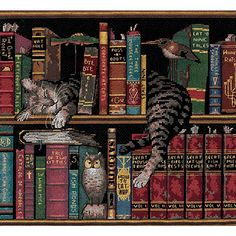 Endearing feline portrait features cats curled up with good books Counted cross stitch kit is ideal for both the cat lover and the bibliophile Needlework set includes everything you need for a fun cra                                                                                                                                                                                 More