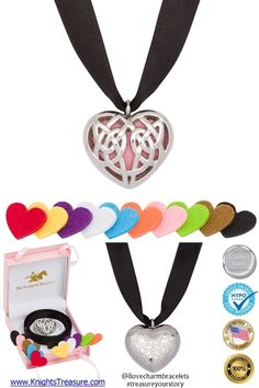 Timeline Treasures Essential Oil Diffuser Necklace Locket Stainless Steel Celtic Heart Pendant http://shop.knightstreasure.com/