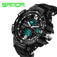 SANDA Fashion Watch Men Waterproof LED Sports Military Watch Shock Resistant Men's Analog Quartz Digital Watch relogio masculino Like it?  #shop #beauty #Woman's fashion #Products #Watch