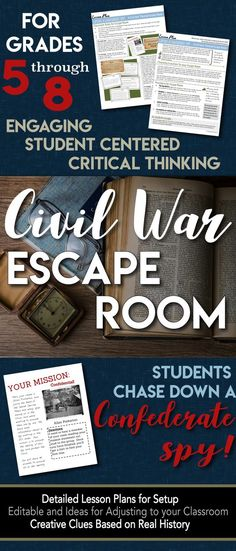 Escape Room (Break Out) Civil War - Students hunt a Confederate spy! Room (Break Out) Civil War - Students hunt a Confederate spy! Civil War Activities, Social Studies Activities, Teaching Social Studies, Teaching American History, Teaching History, History Classroom, History Teachers, History Education, Middle School History