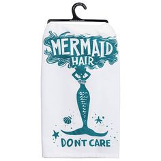 """Make household tasks more fun with the """"Mermaid Hair Don't Care"""" Kitchen Towel from Primitives by Kathy. Made of absorbent cotton with a stylish screenprint sentiment, it handles every chore with ease. Mermaid Bathroom Decor, Mermaid Wall Decor, Mermaid Bedroom, Mermaid Diy, Mermaid Towel, Mermaid Names, Bath Body Works, Design Set, Bokeh"""