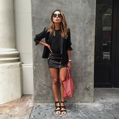 When in doubt, just wear all black  / @thekooplesofficial blazer and skirt