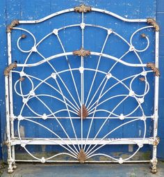 """Very unusual """"shell/fan"""" design, circa Antique Iron Beds, Vintage Bed Frame, Iron Headboard, Cozy Bedroom, Shell, Fan, Antiques, Design, Cozy Dorm Room"""
