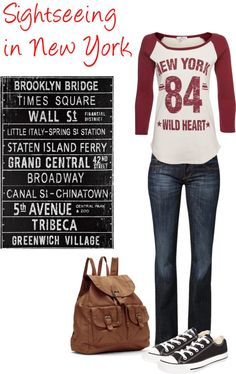 """""""Sightseeing in New York"""" by pollydickson Sightseeing In New York, Sightseeing Outfit, New York City Travel, Staten Island Ferry, Ny Fashion, New Day, What To Wear, Happiness, Nyc"""