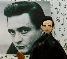 Johnny Cash Doll Miniature  Man in Black Country Music