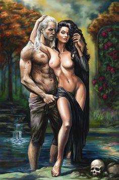 Geralt and Yennefer by Bathorygen