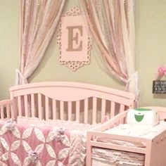 Pink & Silver Sparkle Sequin Garland Curtain with Lace - Nursery Decor, Curtain, Crib Crown
